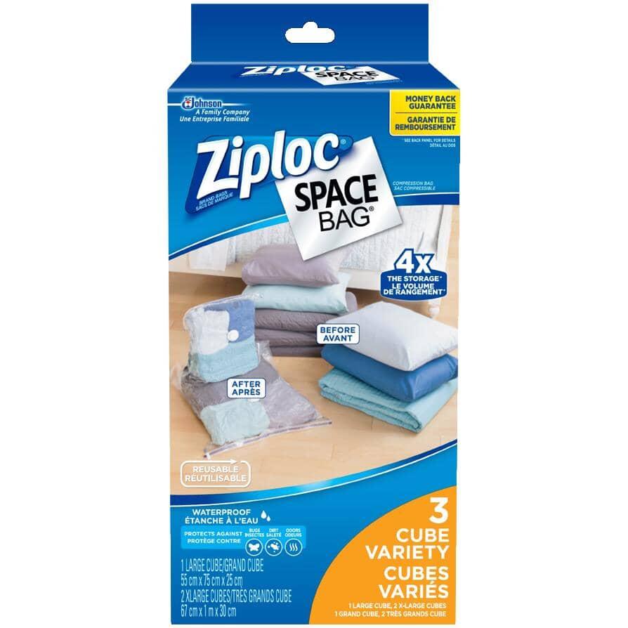 ZIPLOC:Space Bag Storage Bags - Vacuum Seal, 3 Pack
