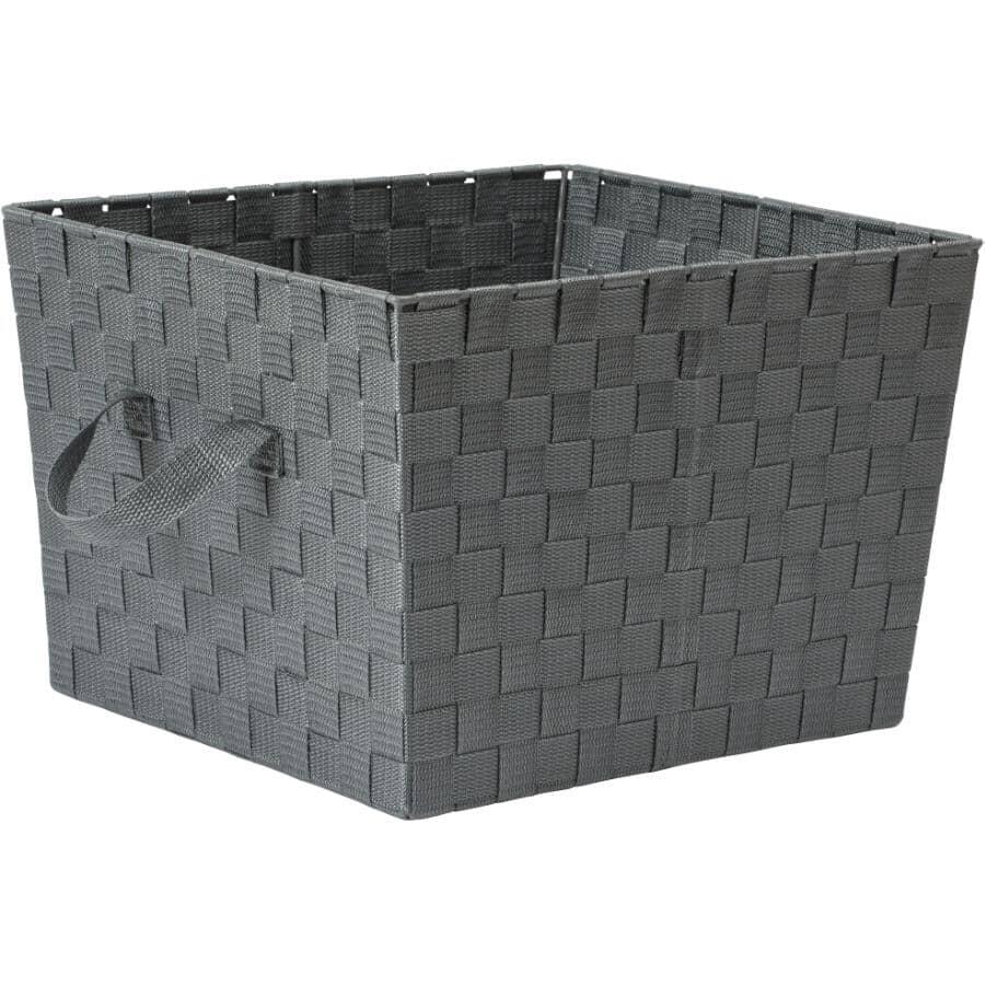 """WHITMOR:13"""" x 15"""" x 10"""" Grey Storage Basket"""