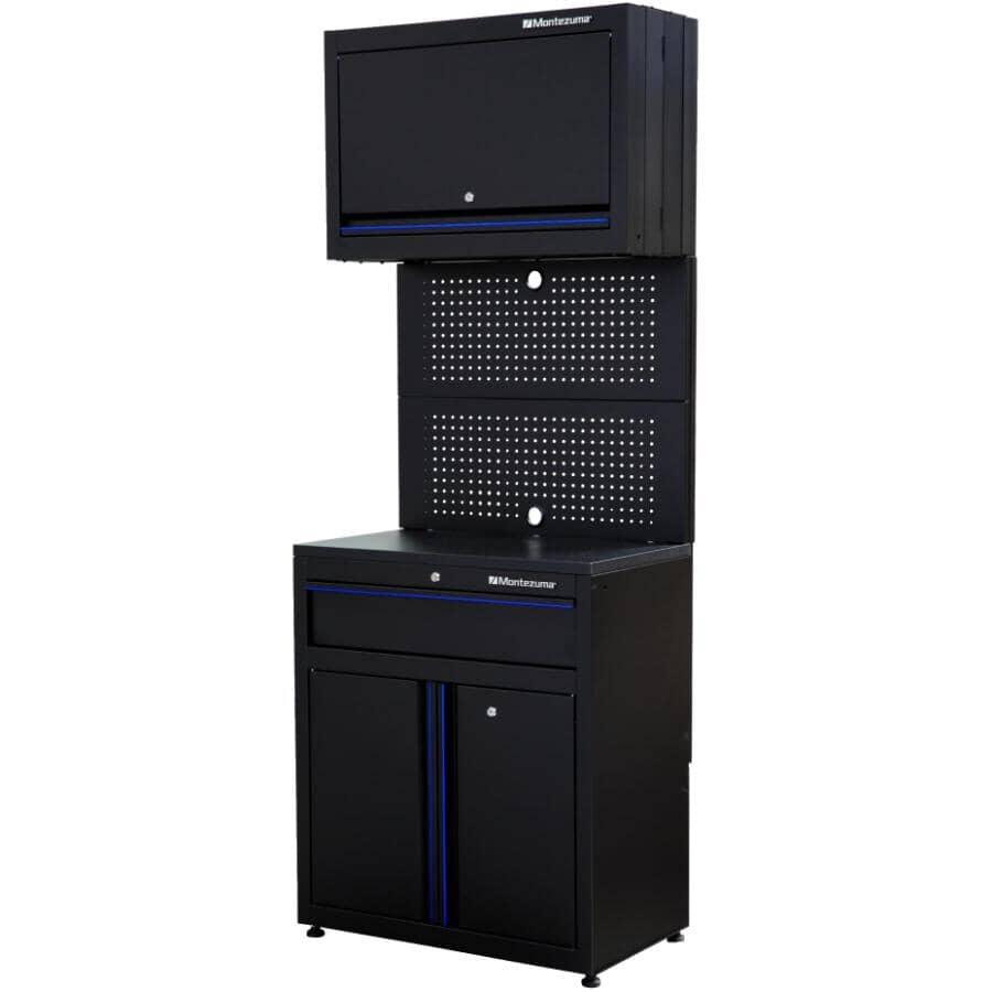MONTEZUMA:Black 1 Drawer/3 Door Storage Cabinet