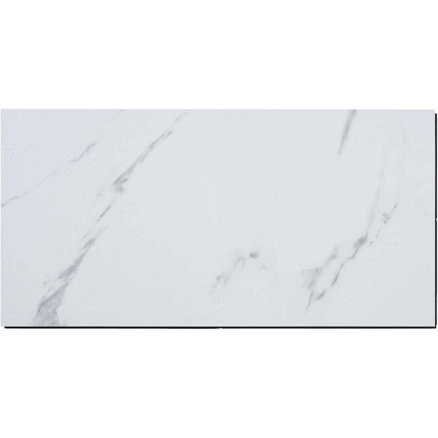 """SHNIER:24 sq. ft. 12"""" x 24"""" 10mm Carrara Press & Go Expresso Vinyl Tile Flooring"""