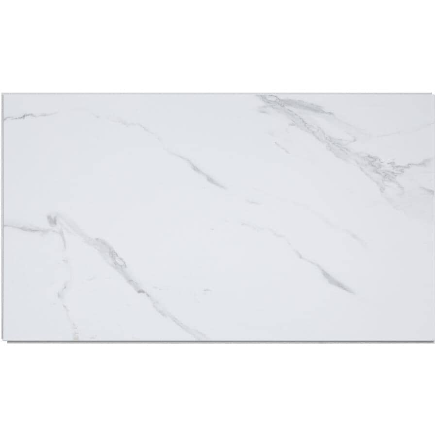 """ACOUSTIC CEILING PRODUCTS:Palisade Collection 25.59"""" x 14.78"""" Vinyl Interlocking Wall Tiles - Carrara Marble, 21 sq. ft."""