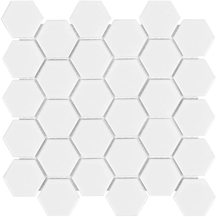 SHNIER:Carreaux de porcelaine hexagonaux en mosaïque de 12,5 x 8,5 po de la collection Wall Art, blanc, 9,4 pieds carrés