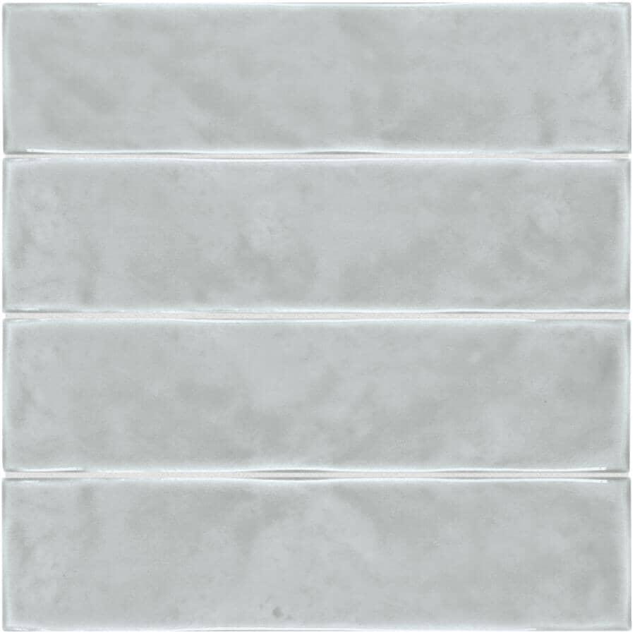"SHNIER:Pescara Collection 3"" x 12"" Ceramic Wall Tiles - Grey, 10.56 sq. ft."