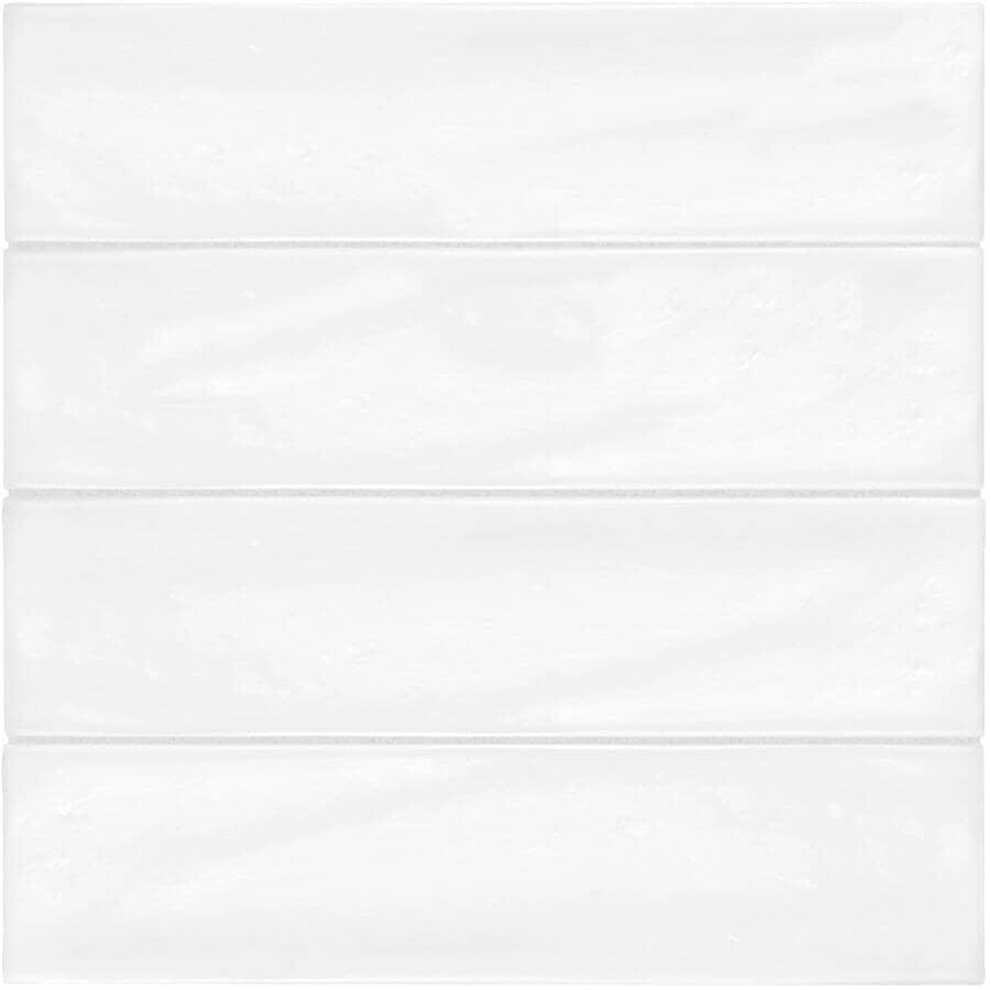 "SHNIER:Pescara Collection 3"" x 12"" Ceramic Wall Tiles - White, 10.56 sq. ft."