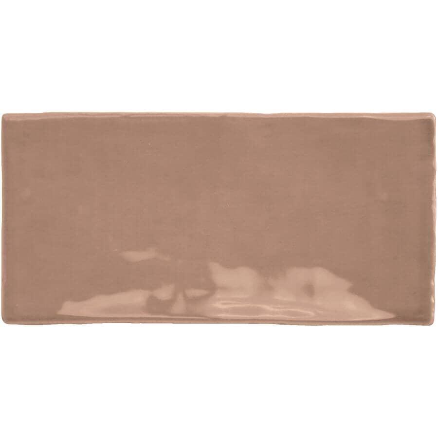 CENTURA:Carreaux de style Subway en céramique de 3 x 6 po de la collection Masia, cacao, 5,5 pieds carrés