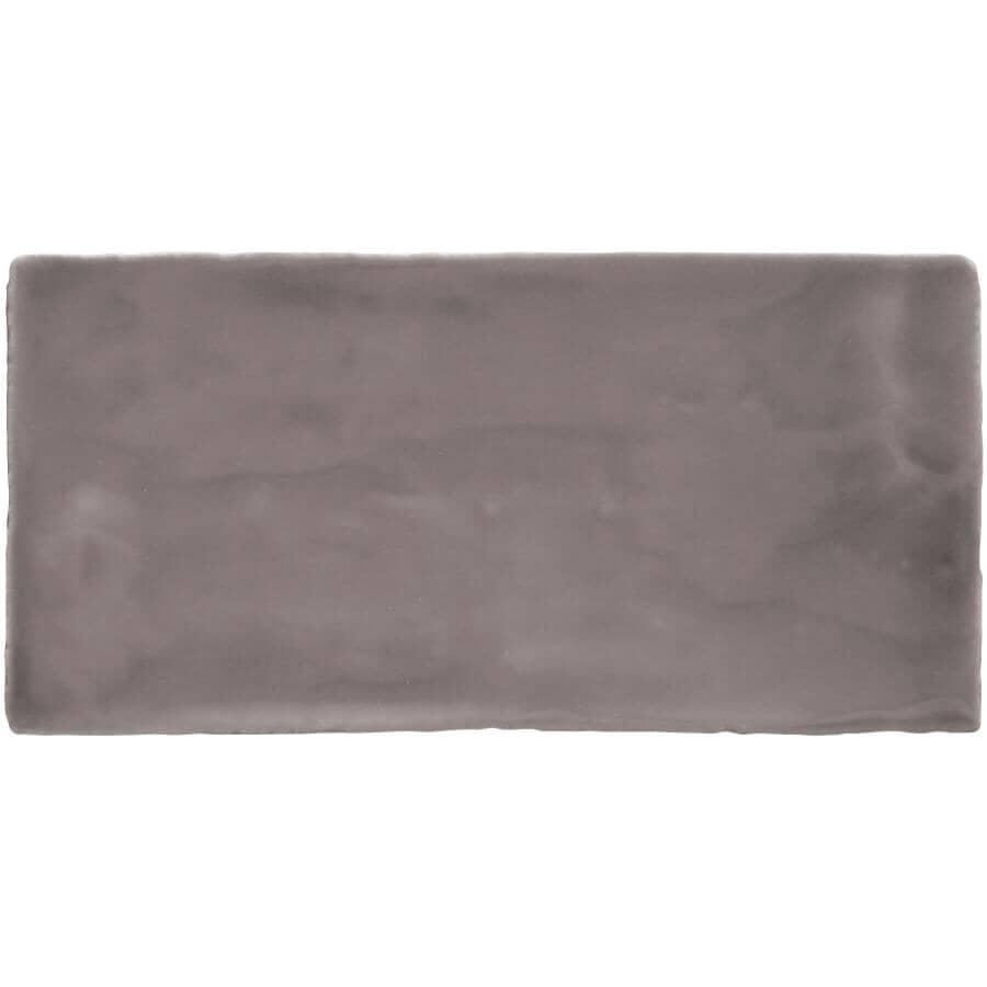"CENTURA:Masia Collection 3"" x 12"" Ceramic Subway Tile - Grey Oscuro, 5.5 sq. ft."