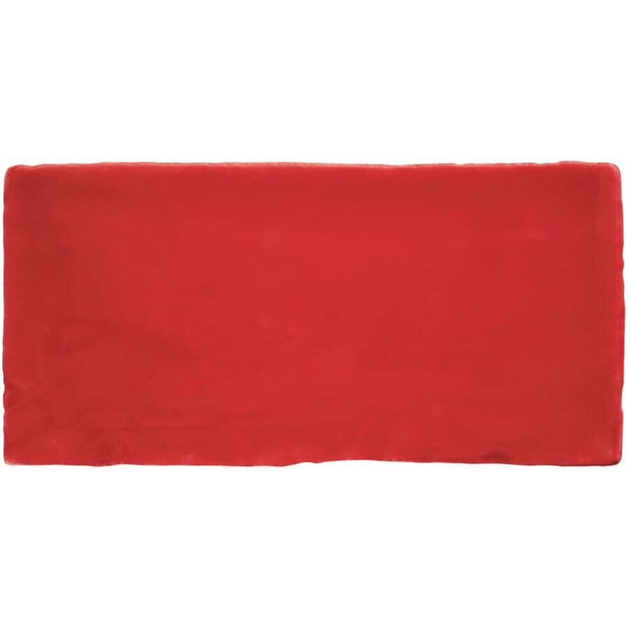 "CENTURA:Masia Collection 3"" x 12"" Ceramic Subway Tile - Red, 5.5 sq. ft."