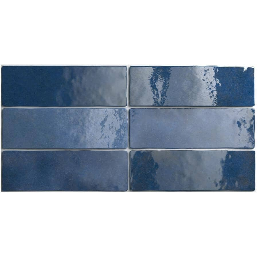 "CENTURA:Artisan Collection 2.5"" x 8"" Ceramic Subway Tile - Colonial Blue, 5.27 sq. ft."