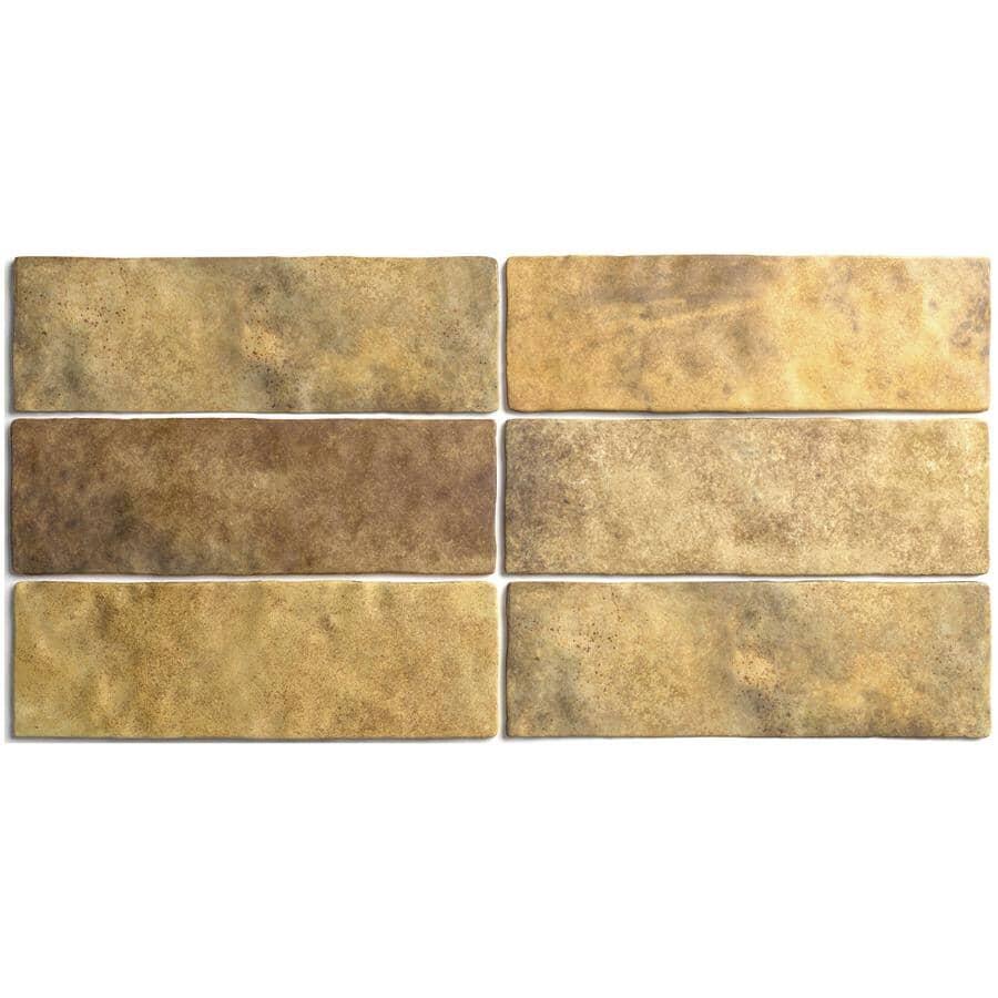 "CENTURA:Artisan Collection 2.5"" x 8"" Ceramic Subway Tile - Gold, 5.27 sq. ft."