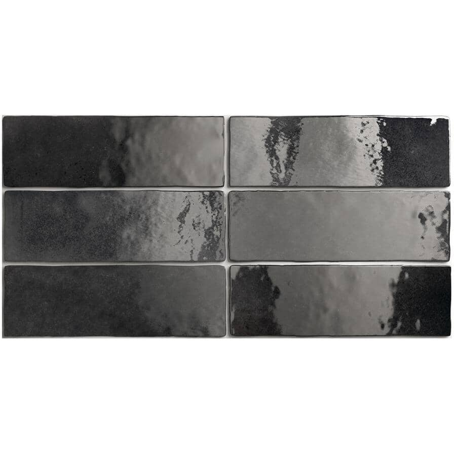 "CENTURA:Artisan Collection 2.5"" x 8"" Ceramic Subway Tile - Graphite, 5.27 sq. ft."