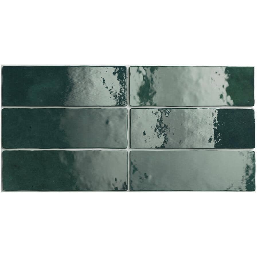 "CENTURA:Artisan Collection 2.5"" x 8"" Ceramic Subway Tile - Moss Green, 5.27 sq. ft."