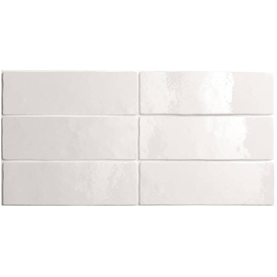 "CENTURA:Artisan Collection 2.5"" x 8"" Ceramic Subway Tile - White, 5.27 sq. ft."