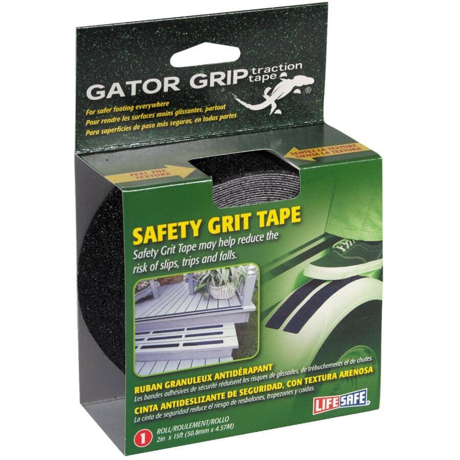 """LIFESAFE:Gator Grip Safety Grit Tape - Black, 2"""" x 15'"""