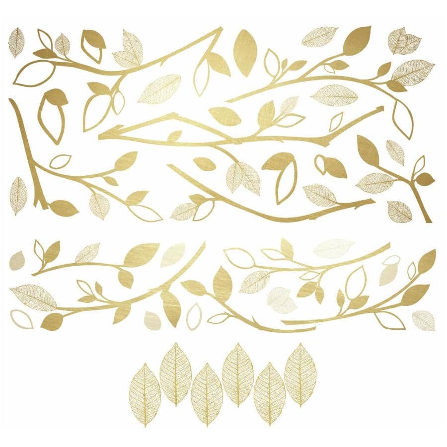 ROOMMATES:Gold Branch Peel & Stick Wall Decals - with 3D Leaves