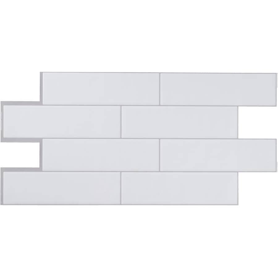 """SMART TILES:Oslo Peel & Stick Backsplash Tiles - White, 22.56"""" x 10.88"""", 2 Pack"""