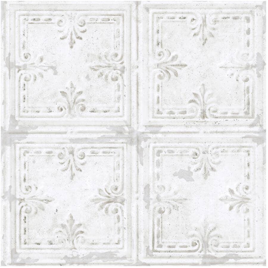 """ROOMMATES:Tin Tile Peel & Stick Wallpaper - White, 20.5"""" x 16.5'"""
