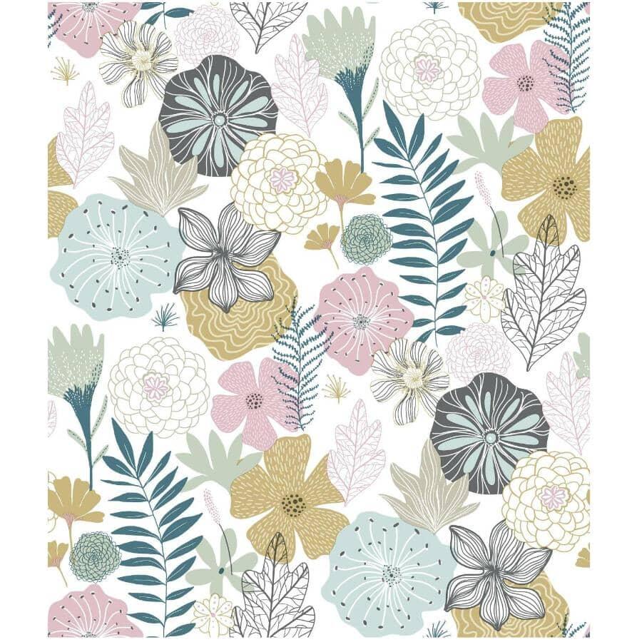 "ROOMMATES:Perennial Blooms Peel & Stick Wallpaper - 20.5"" x  16.5'"