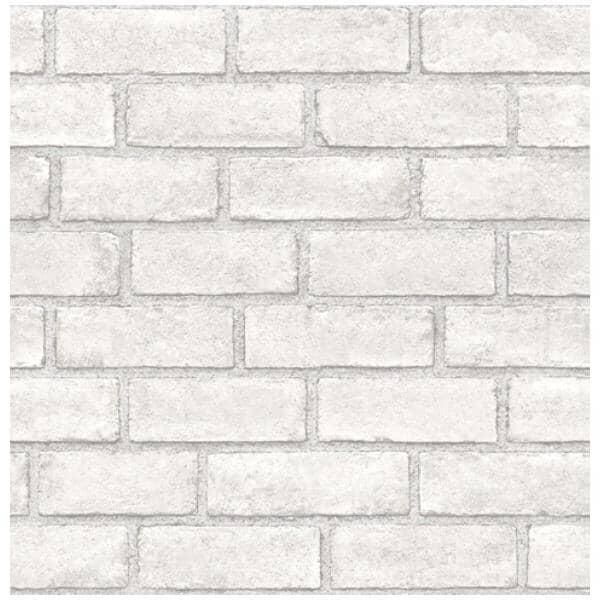 """WALLPOPS:Brick Peel & Stick Wallpaper - White, 20.5"""" x 18'"""