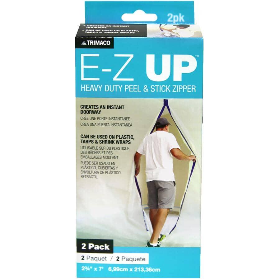 TRIMACO:E-Z Up Heavy Duty Peel & Stick Zipper - 2 Pack