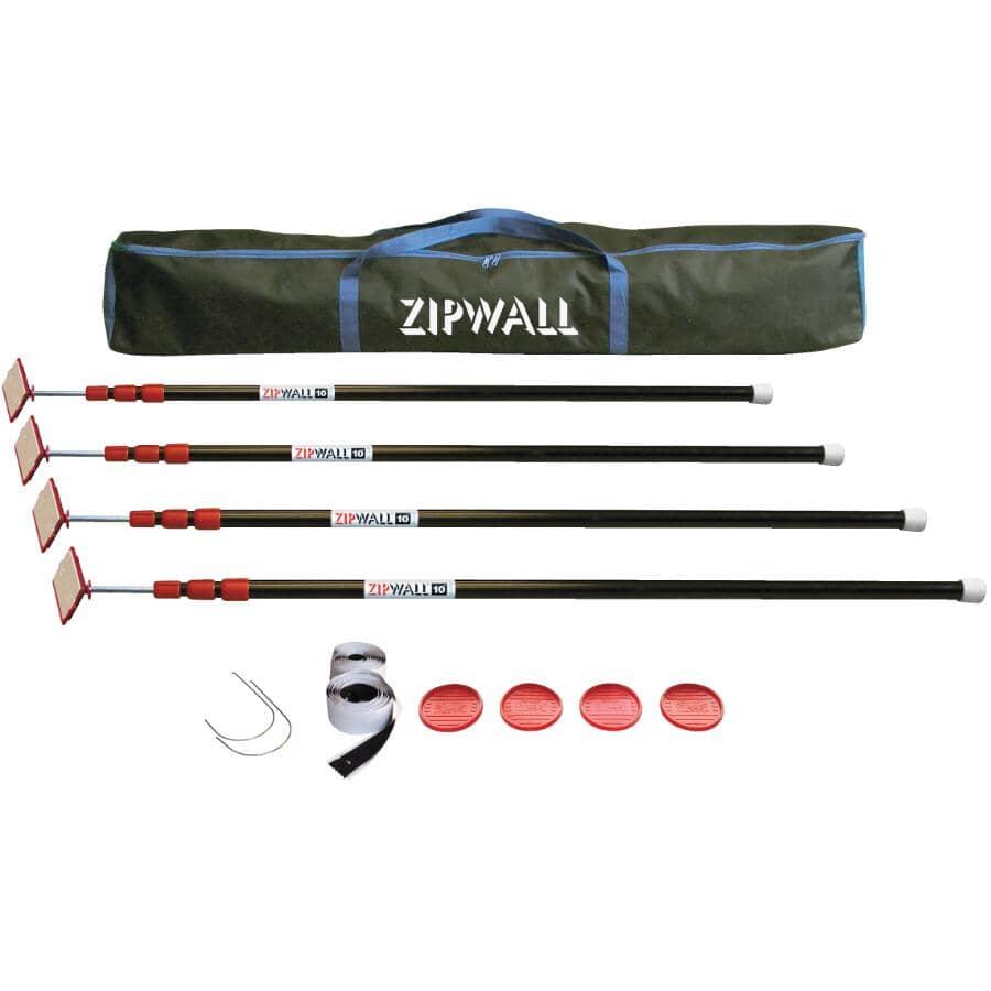 ZIPWALL:Système de confinement antipoussière réglable avec 4 montants
