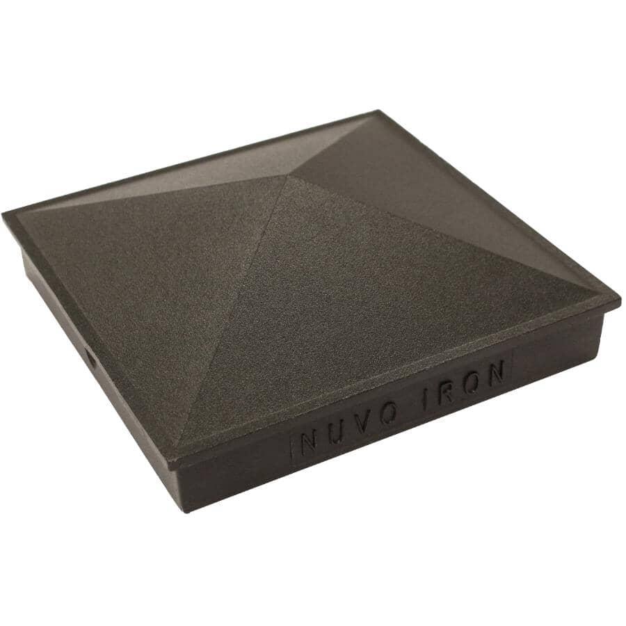 """NUVO IRON:3-1/2"""" x 3-1/2"""" Black Aluminum Fence Post Cap"""