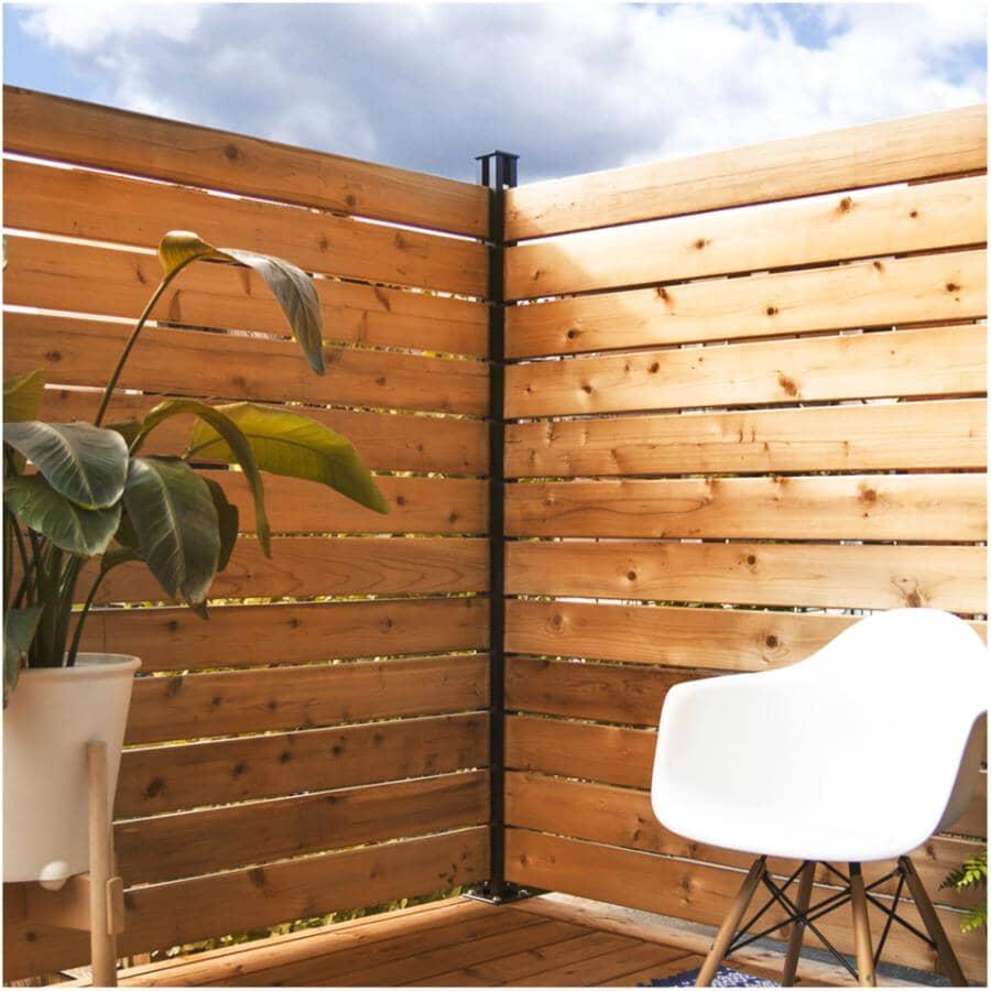HOFT SOLUTIONS:6' Black Fence & Screen Kit - Corner Post + Hardware