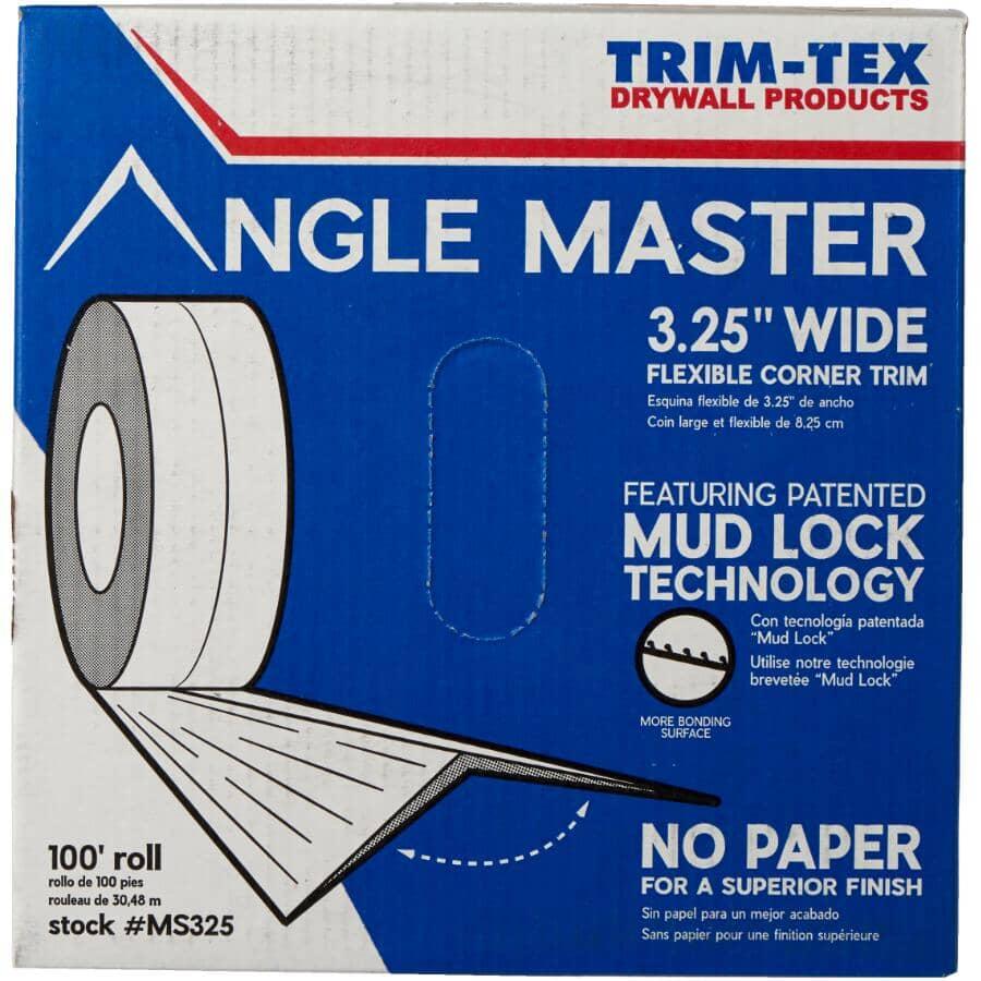 "TRIM-TEX:3-1/4"" x 100' Roll Angle Master Vinyl Bead, Adjustable Angle"