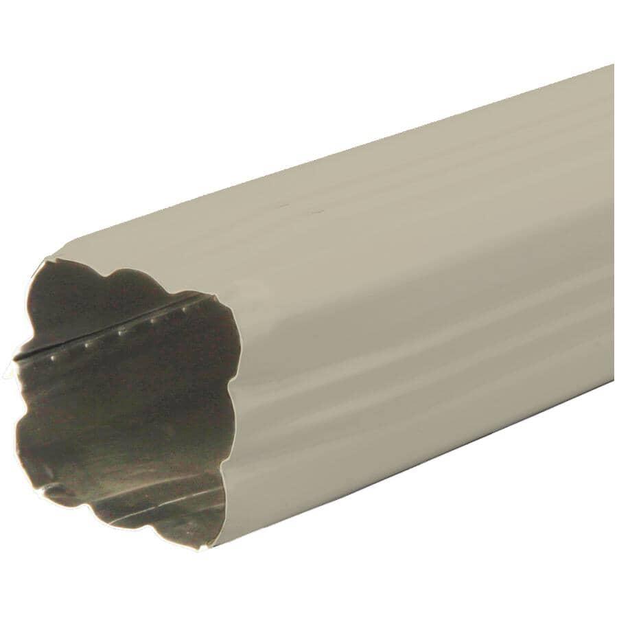 KAYCAN:Tuyau de descente de 2-1/2 po x 2-1/2 po x 10 pi pour gouttière en aluminium, beige