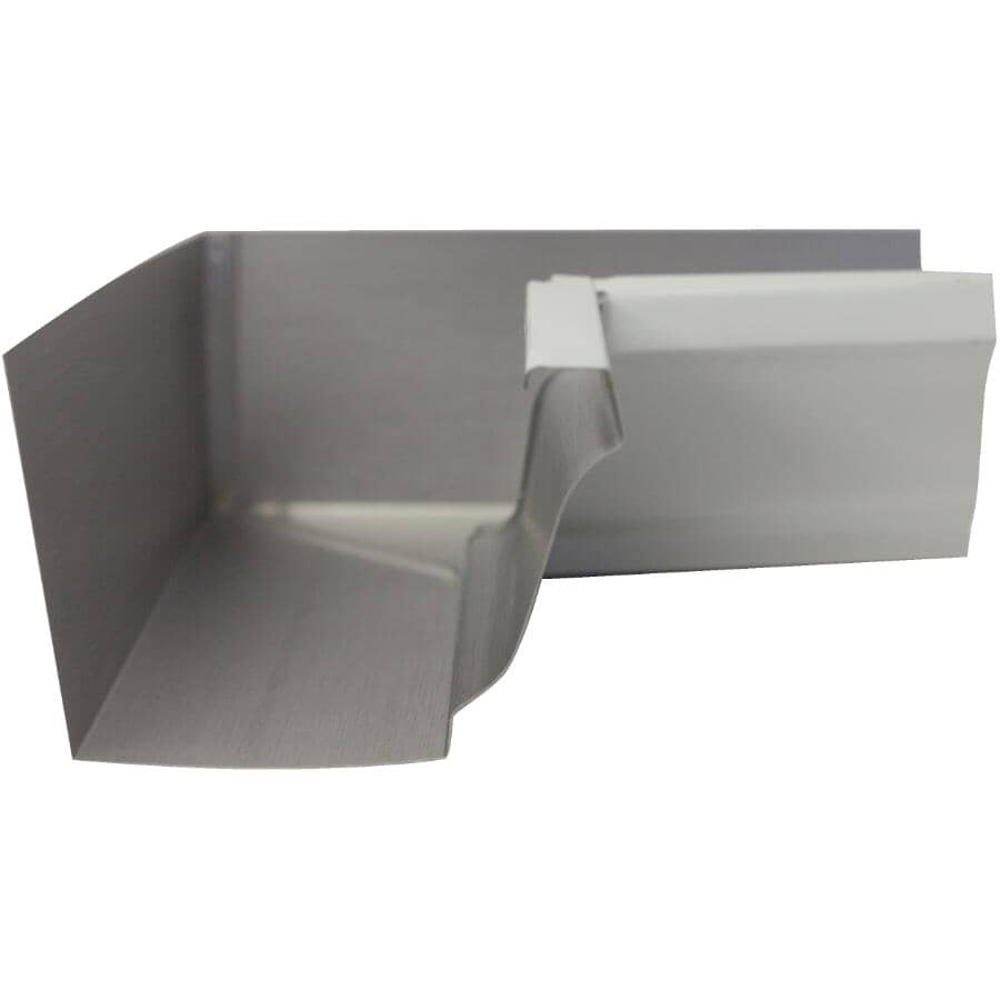 """CITY SHEET METAL:5"""" K-Style White Inside Aluminum Gutter Mitre"""