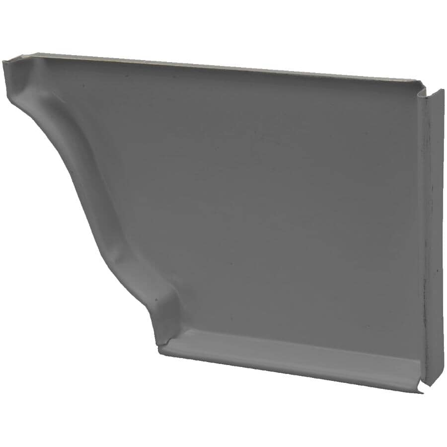 "KAYCAN:5"" Left Hand K Style Charcoal Aluminum Gutter End Cap"