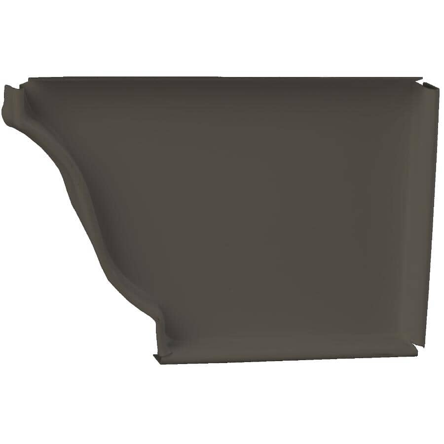 """KAYCAN:5"""" Right Hand K Style Colonial Brown Aluminum Gutter End Cap"""