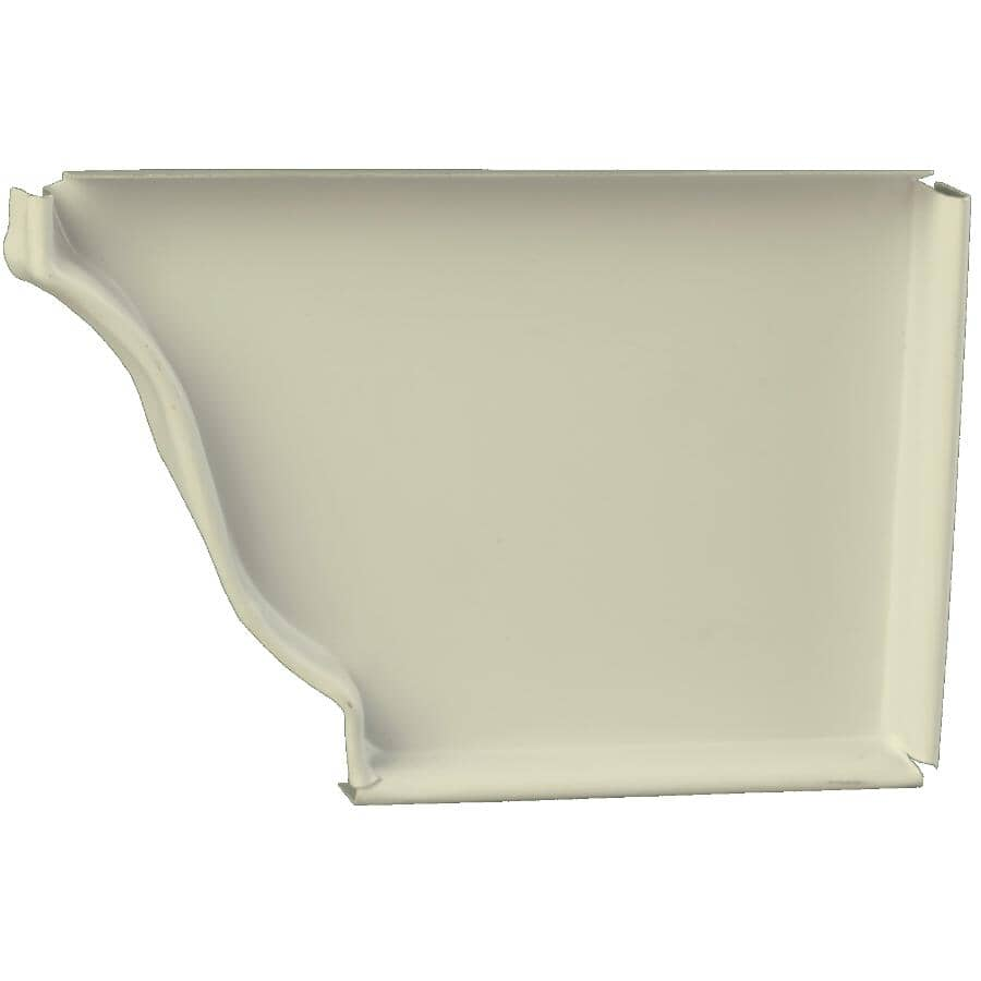 """KAYCAN:5"""" Right Hand K Style Ivory Aluminum Gutter End Cap"""