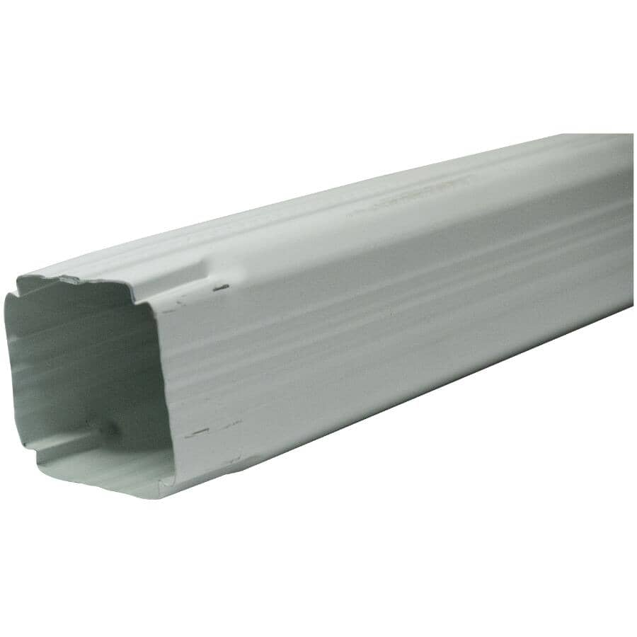 """CITY SHEET METAL:2-5/8"""" x 2-5/8"""" x 10' Square White Steel Gutter Downpipe"""