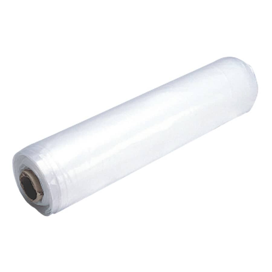 """POLYTARP:102"""" x 59' Roll Light Duty Clear Poly Film, covers 500 sq. ft"""