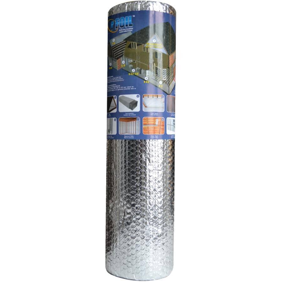 RFOIL:Isolant réfléchissant en aluminium à double épaisseur de bulles en rouleau de 24 po x 10 pi