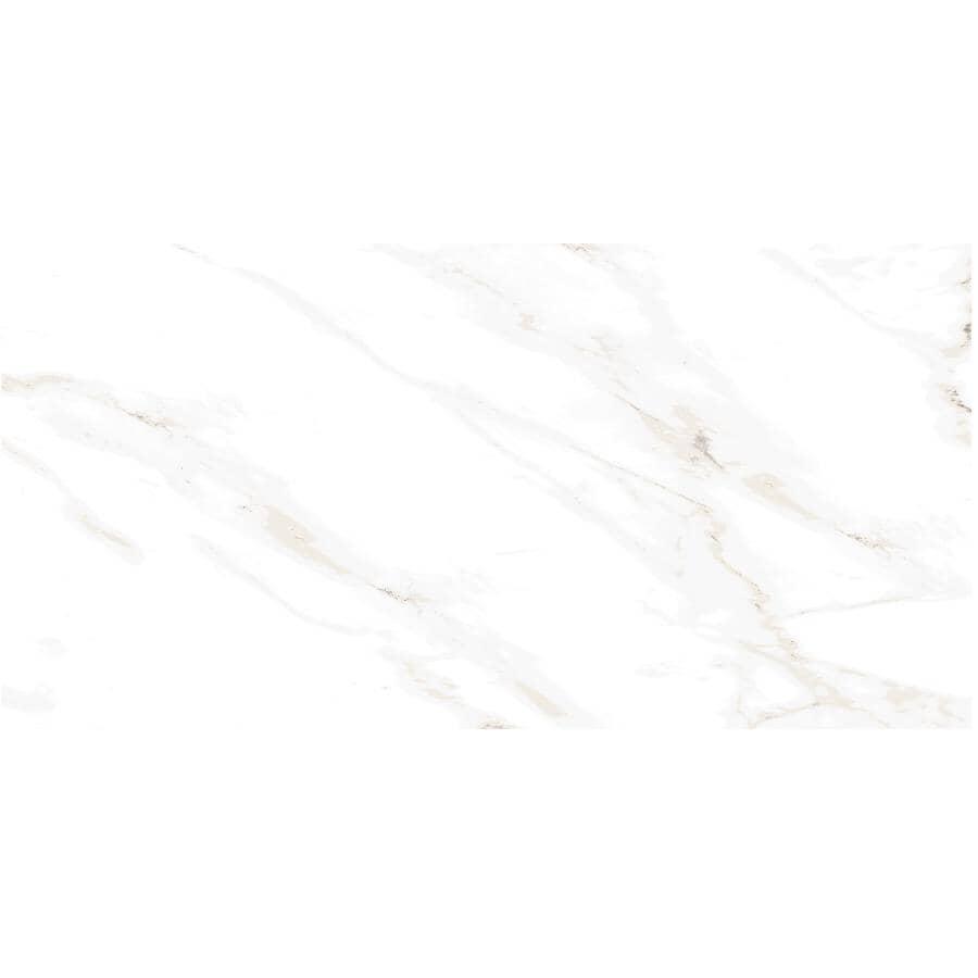 "CENTURA:Naos Collection 12"" x 24"" Porcelain Tile Flooring - White Brillo, 15.3 sq. ft."