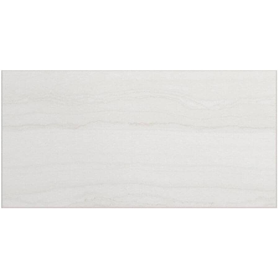 """CENTURA:Beaubridge Collection 12"""" x 24"""" Porcelain Tile Flooring - White, 15.01 sq. ft."""
