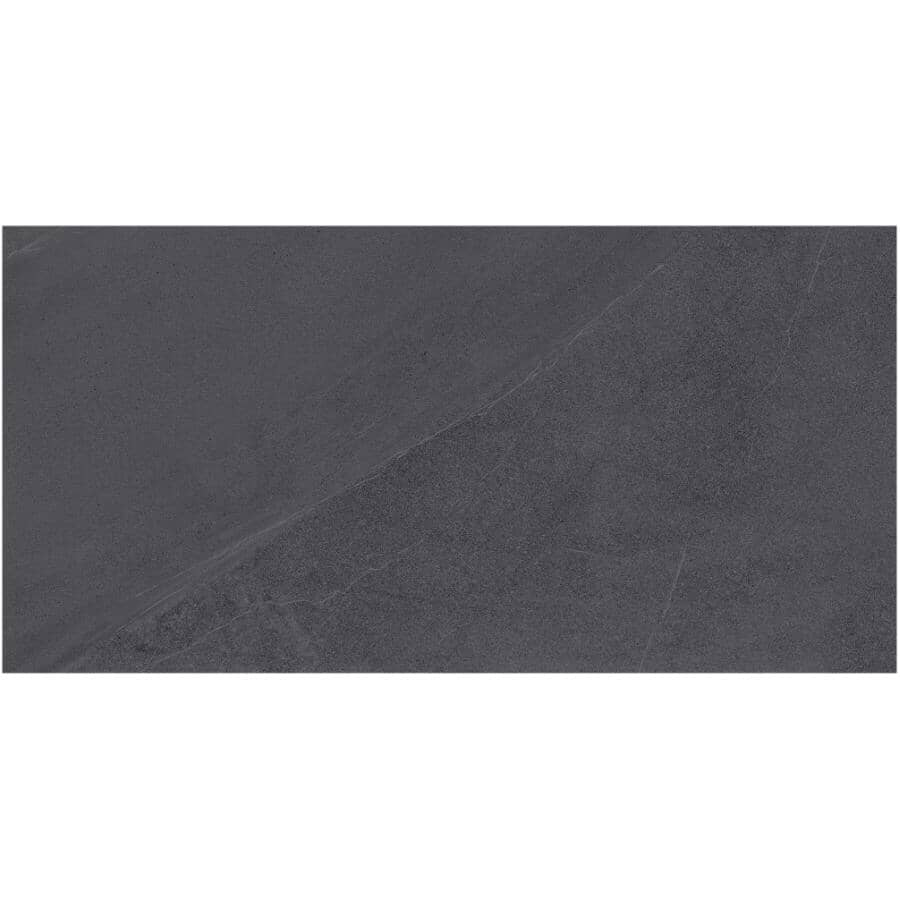 "CENTURA:York Collection 12"" x 24"" Porcelain Tile Flooring - Smoke, 17.44 sq. ft."