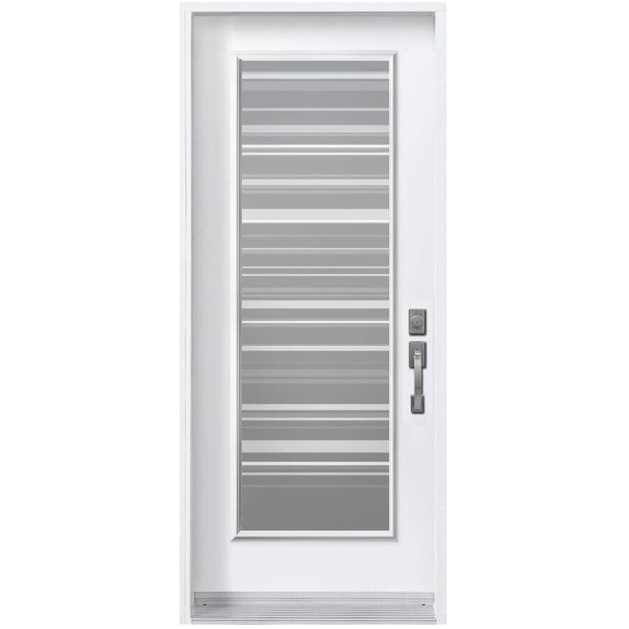 DIMENSIONS PORTES ET FENETRES:Porte en acier de 34po x 80po enduite de vinyle à ouverture à gauche, avec fenêtre Azur de 23 po x 65 po à verre à faible émissivité