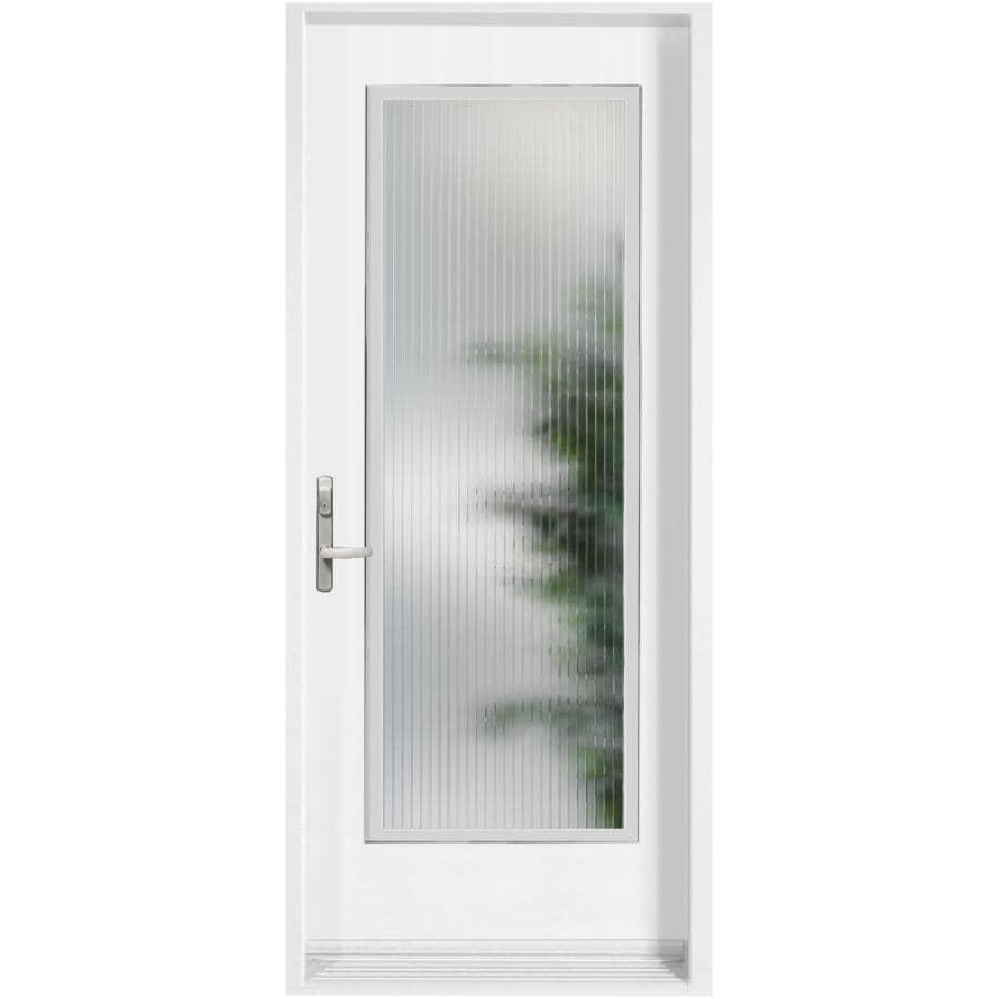 DIMENSIONS PORTES ET FENETRES:Porte en acier Linea contemporaine de 34 po x 80 po à ouverture à droite, avec fenêtre de 21 po x 65 po à verre à faible émissivité
