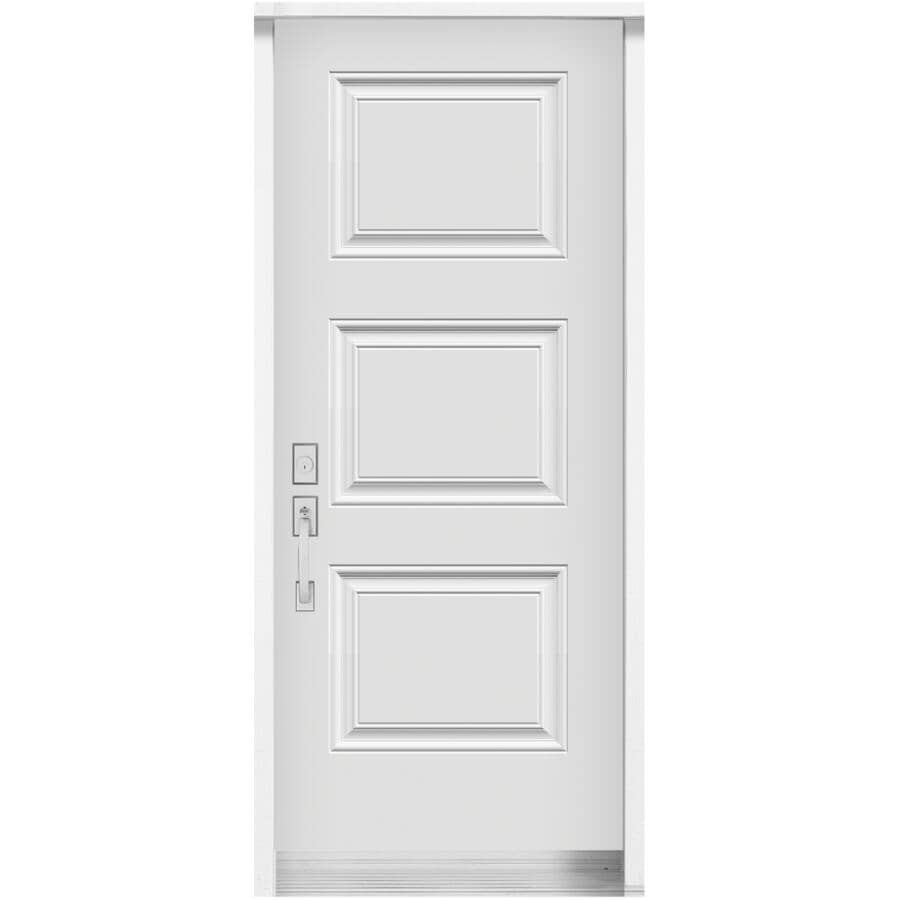 DIMENSIONS PORTES ET FENETRES:Porte en acier SYDNEY de 34po x 80po à 3 panneaux et ouverture à droite