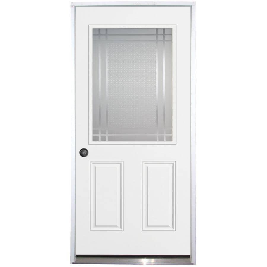 "DOORSMITH:32"" x 80"" Right Hand Polytech Transit Steel Door, with Sandblasted 22"" x 36"" Lite"
