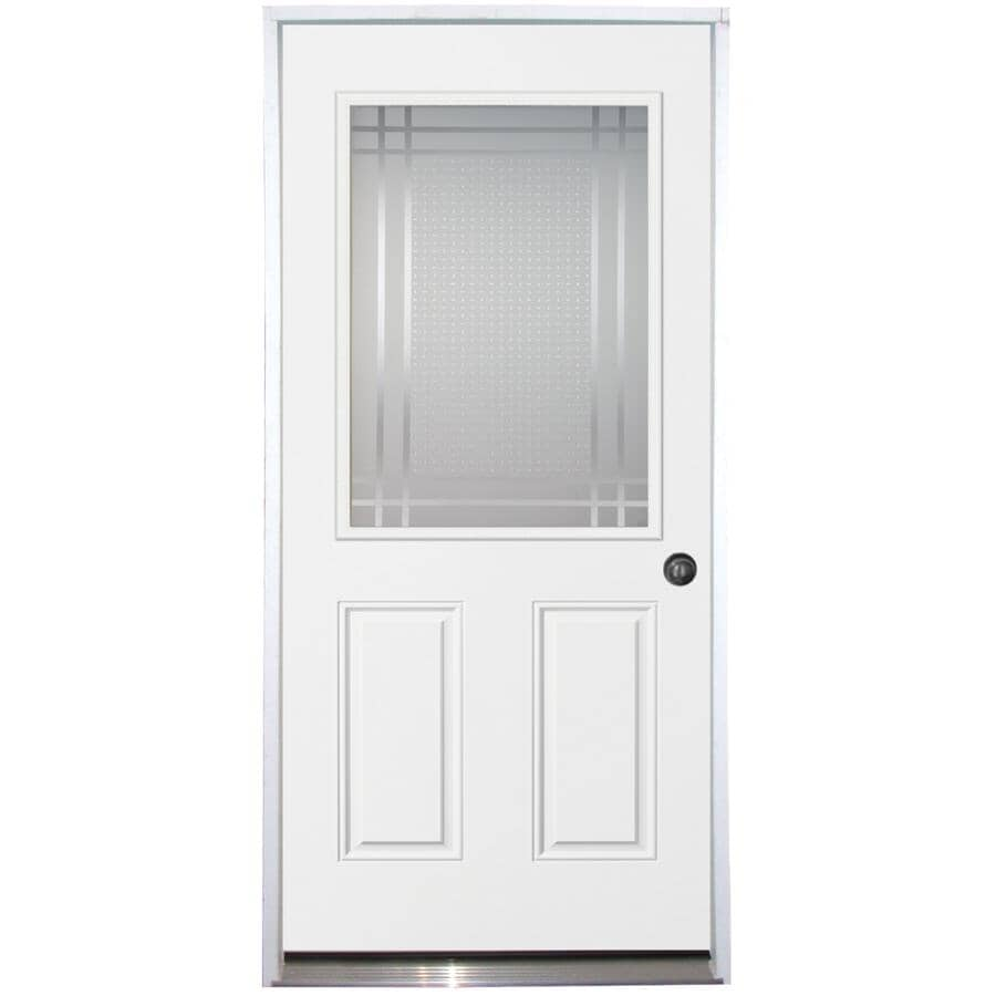 "DOORSMITH:36"" x 80"" Left Hand Polytech Transit Steel Door, with Sandblasted 22"" x 36"" Lite"