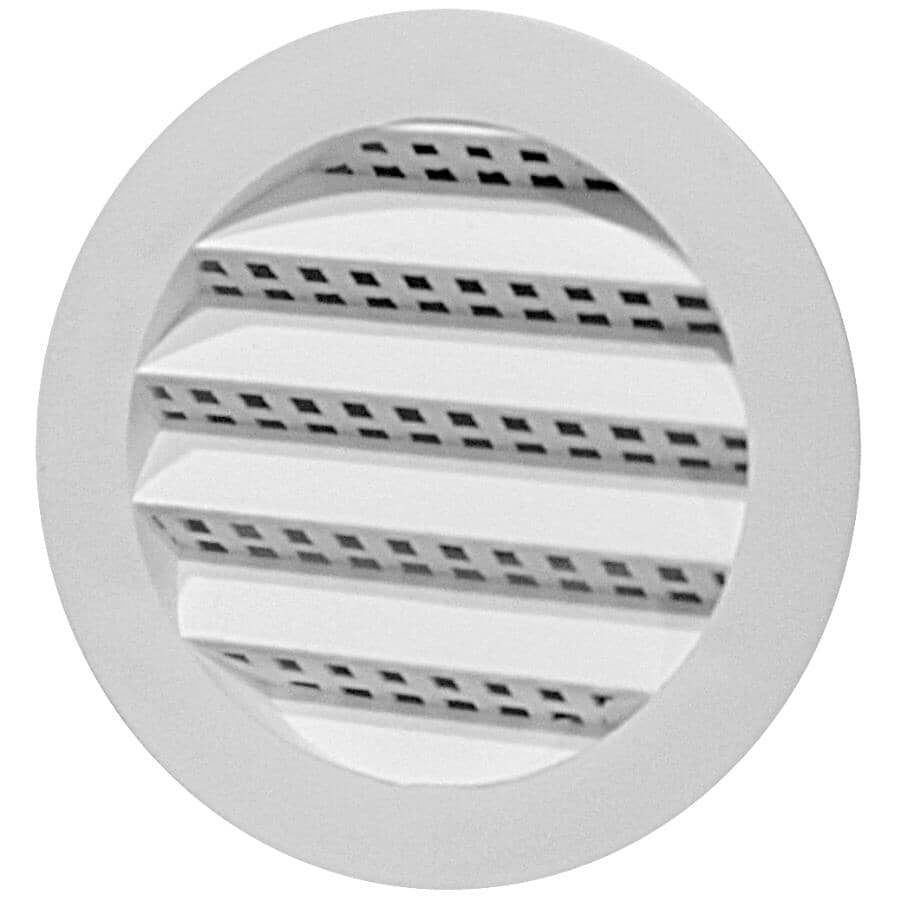 DURAFLO:Mini-évent de soffite rond blanc en plastique, 2 po