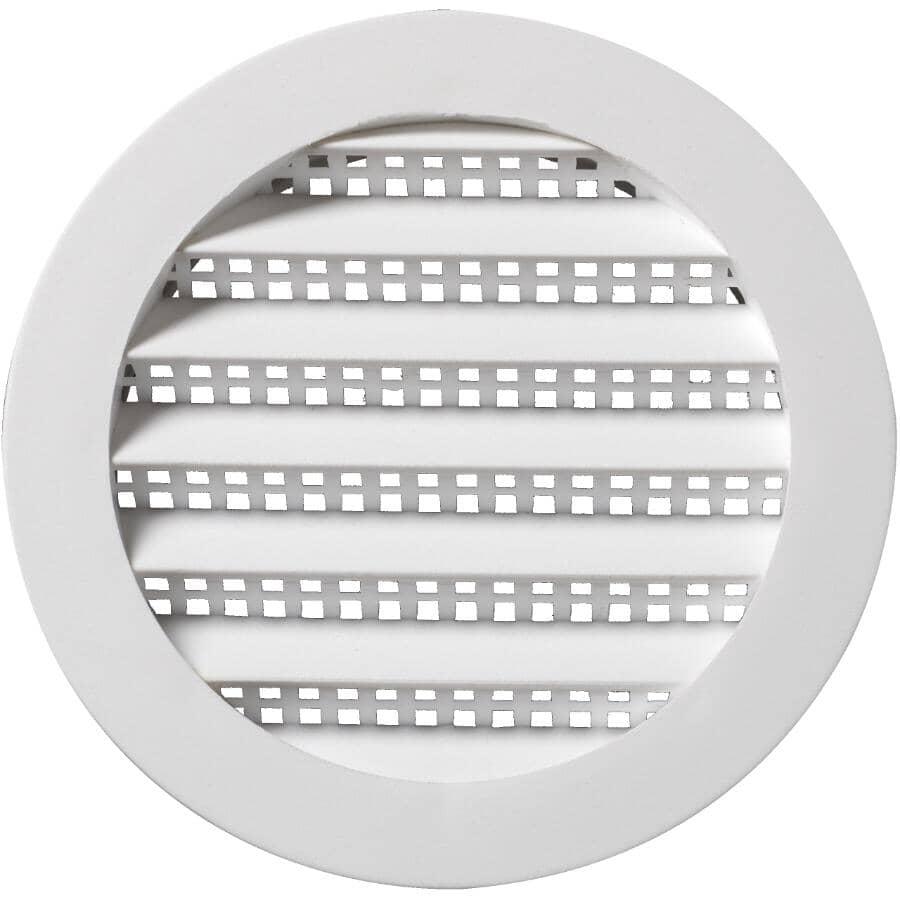 DURAFLO:Mini-évent de soffite rond blanc en plastique, 3 po
