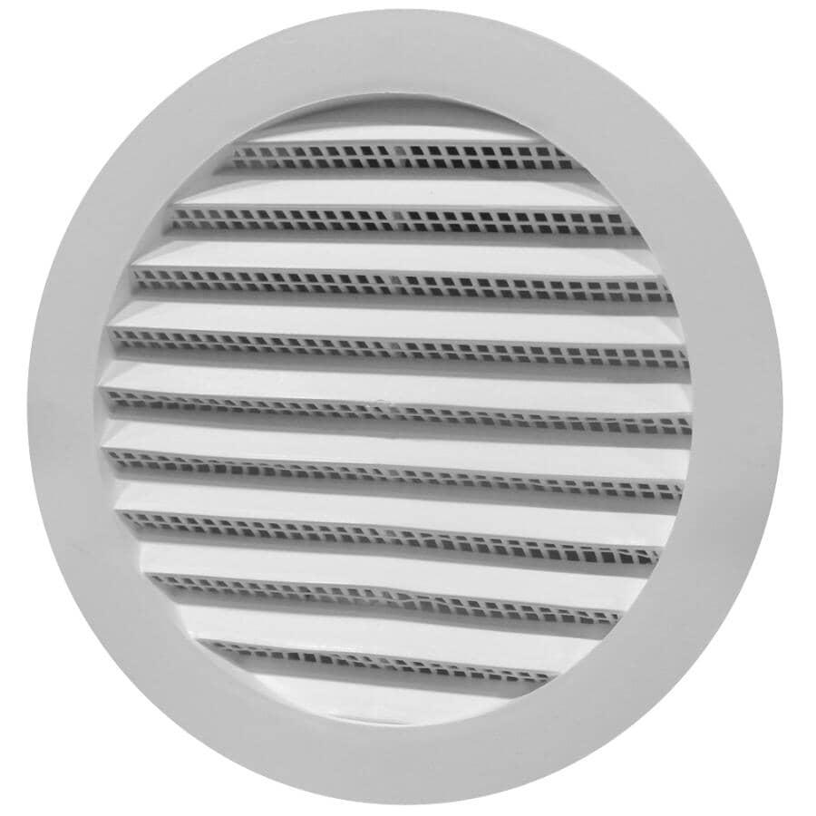 DURAFLO:Mini-évent de soffite rond blanc en plastique, 6 po