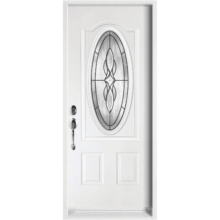 "DIMENSIONS PORTES ET FENETRES:34"" x 80"" Right Hand Steel Door, with Venus Antique Oval Low-e Lite"