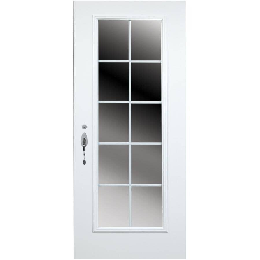 """DIMENSIONS PORTES ET FENETRES:34"""" x 80"""" Right Hand Steel Door, with 21"""" x 65"""" CAAL10 Low-e Lite"""