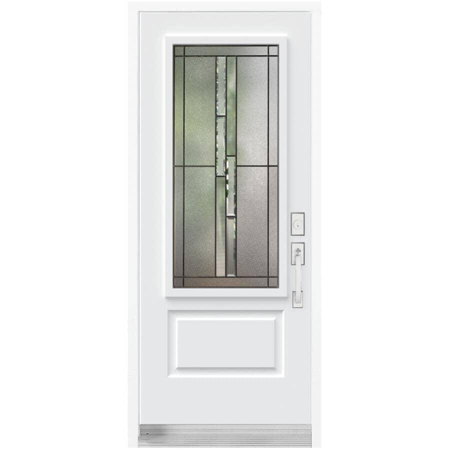 "DIMENSIONS PORTES ET FENETRES:34"" x 80"" Whistler Left Hand Steel Door, with 23"" x 49"" Low-E Lite"