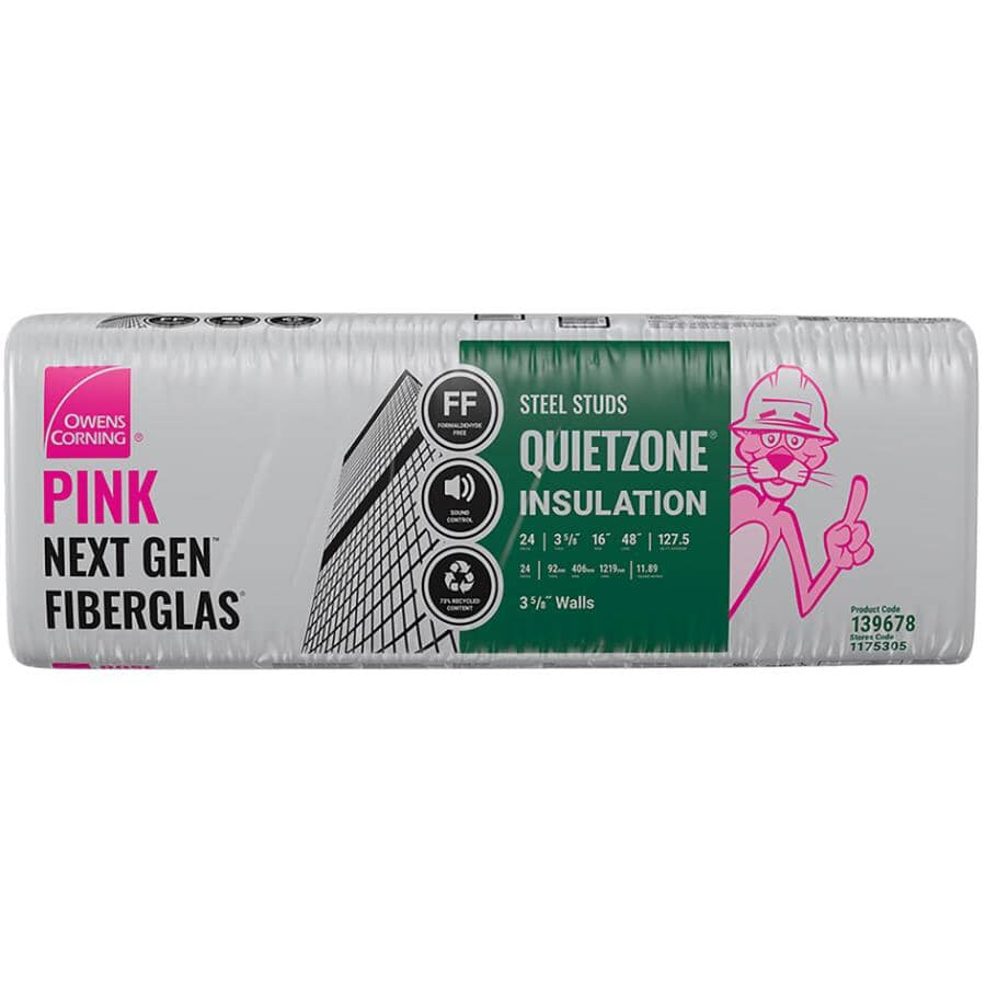 """OWENS CORNING:3.5"""" x 16"""" Quietzone Pink Insulation, covers 128 sq. ft."""